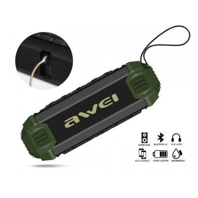 Awei Y280 Αδιάβροχο Bluetooth Ηχείο και Power Bank 4000mAh - Χρώμα: Πράσινο