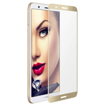 Huawei P Smart  Αντιχαρακτικό Γυαλί 9H Tempered Glass 3D Full Face Curved Gold