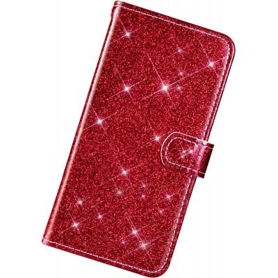 Θήκη Huawei P Smart Z / Honor 9X / Y9 Prime 2019 Bling Glitter PU Leather Flip Wallet -Red