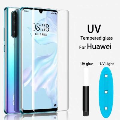 Huawei P30 Curved Liquid UV Tempered Glass With UV NanoScale Light