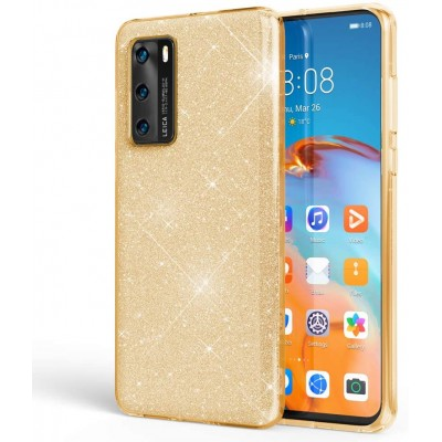 Θήκη Huawei P40  Glitter Shine Cover Hard -Χρυσό