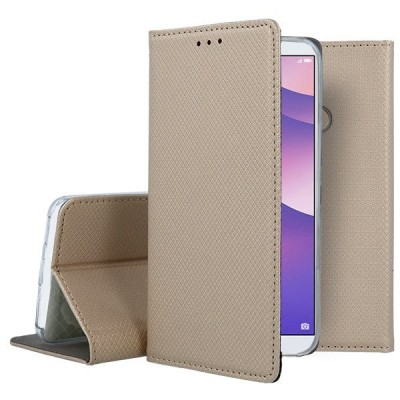 Θήκες Huawei P20 Lite Book Case με Δυνατότητα Stand Θήκη Πορτοφόλι -Gold