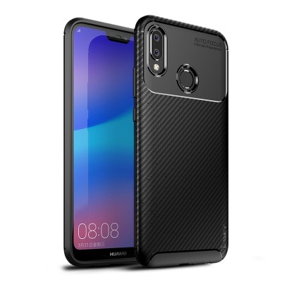 iPAKY Huawei P20 Lite Carbon fiber Armor Case Black