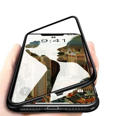 iPhone XS Max Μαγνητική Μεταλλική Θήκη Detachable Metal Frame με Πίσω Όψη από Tempered Glass Μαύρη Διάφανη
