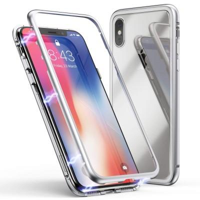 iPhone XS Max Μαγνητική Μεταλλική Θήκη Detachable Metal Frame με Πίσω Όψη από Tempered Glass Ασημί Διάφανη