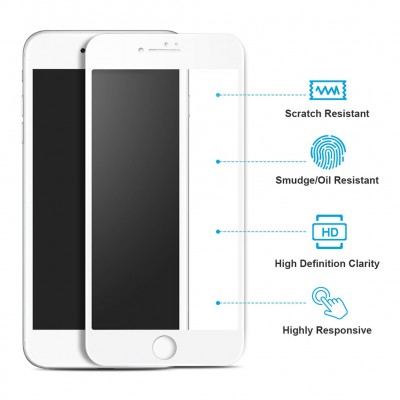 iPhone 7/ 8 3D Full Glue Full Face White Αντιχαρακτικό Γυαλί 9H Tempered Glass