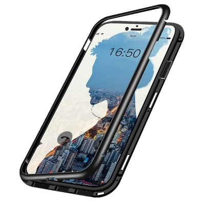 iPhone 6/ 6s Μαγνητική Μεταλλική Θήκη Detachable Metal Frame με Πίσω Όψη από Tempered Glass Μαύρη Διάφανη