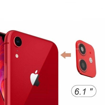 Camera Lens Seconds Change Cover for iPhone XR Sticker Metal Protector Change Fake Camera for iPhone 11- Red