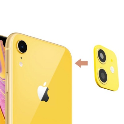 Camera Lens Seconds Change Cover for iPhone XR Sticker Metal Protector Change Fake Camera for iPhone 11- Yellow