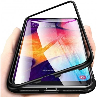 Samsung Galaxy A30s / A50   Μαγνητική Μεταλλική Θήκη Detachable Metal Frame με Πίσω Όψη από Tempered Glass Μαύρη Διάφανη