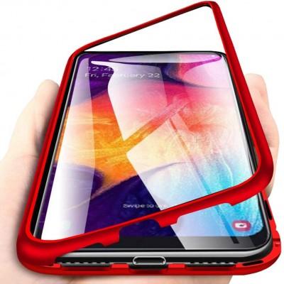 Samsung Galaxy A20 / A30 Μαγνητική Μεταλλική Θήκη Detachable Metal Frame με Πίσω Όψη από Tempered Glass Κόκκινη Διάφανη
