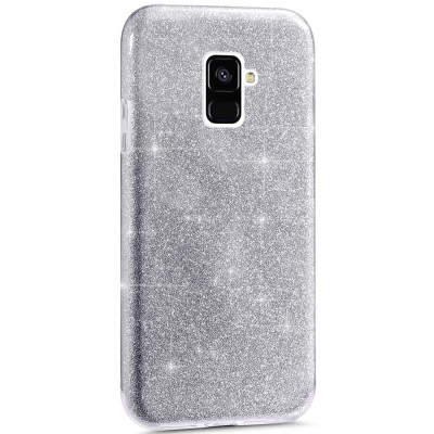 Θήκη Samsung Galaxy A8 2018 Glitter Shine Cover Hard -Ασημί