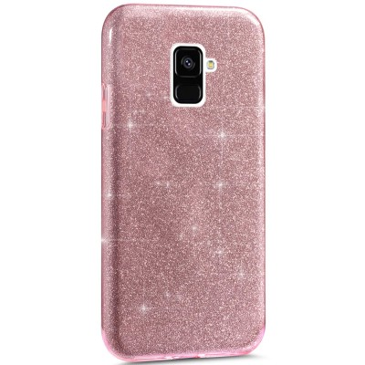 Θήκη Samsung Galaxy A8 2018 Glitter Shine Cover Hard -Ροζ
