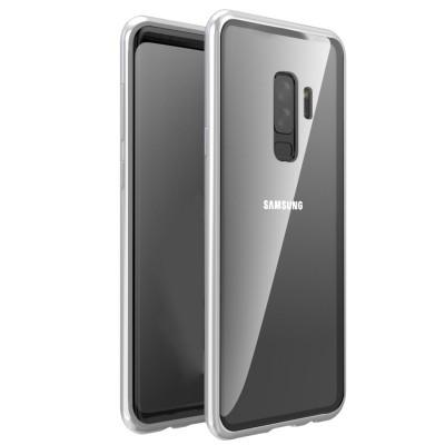Samsung Galaxy S9 Plus Μαγνητική Μεταλλική Θήκη Detachable Metal Frame με Πίσω Όψη από Tempered Glass Ασημί Διάφανη