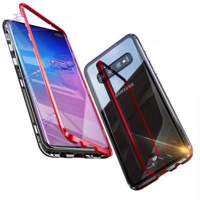 Samsung Galaxy S10 Μαγνητική Μεταλλική Θήκη Detachable Metal Frame με Πίσω Όψη από Tempered Glass Κόκκινη Διάφανη