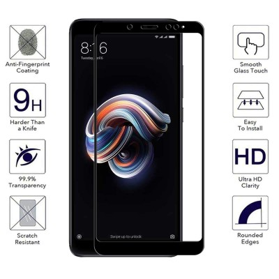 Xiaomi Redmi Note 5A Prime  3D Full Face Curved Black Αντιχαρακτικό Γυαλί 9H Tempered Glass