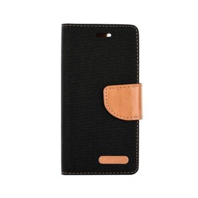 Θήκη Huawei P8 / P9 Lite 2017 Canvas Wallet Case Πορτοφόλι με δυνατότητα Stand -Μαύρο Καφέ