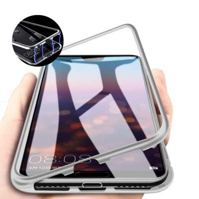 Samsung Galaxy A70 Μαγνητική Μεταλλική Θήκη Detachable Metal Frame με Πίσω Όψη από Tempered Glass Ασημί Διάφανη