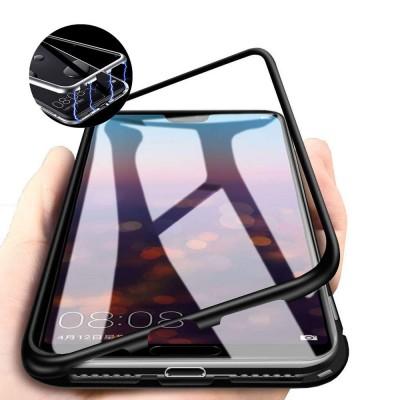 Xiaomi Redmi Note 6 Pro Μαγνητική Μεταλλική Θήκη Detachable Metal Frame με Πίσω Όψη από Tempered Glass Μαύρη Διάφανη